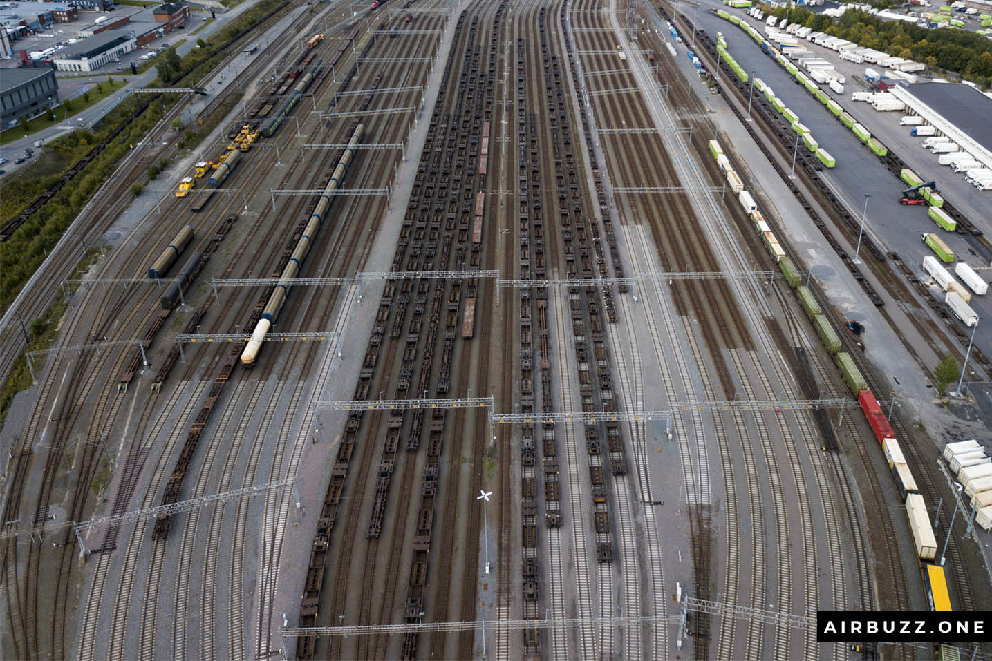 The parallel lines with train wagons looks great from above.