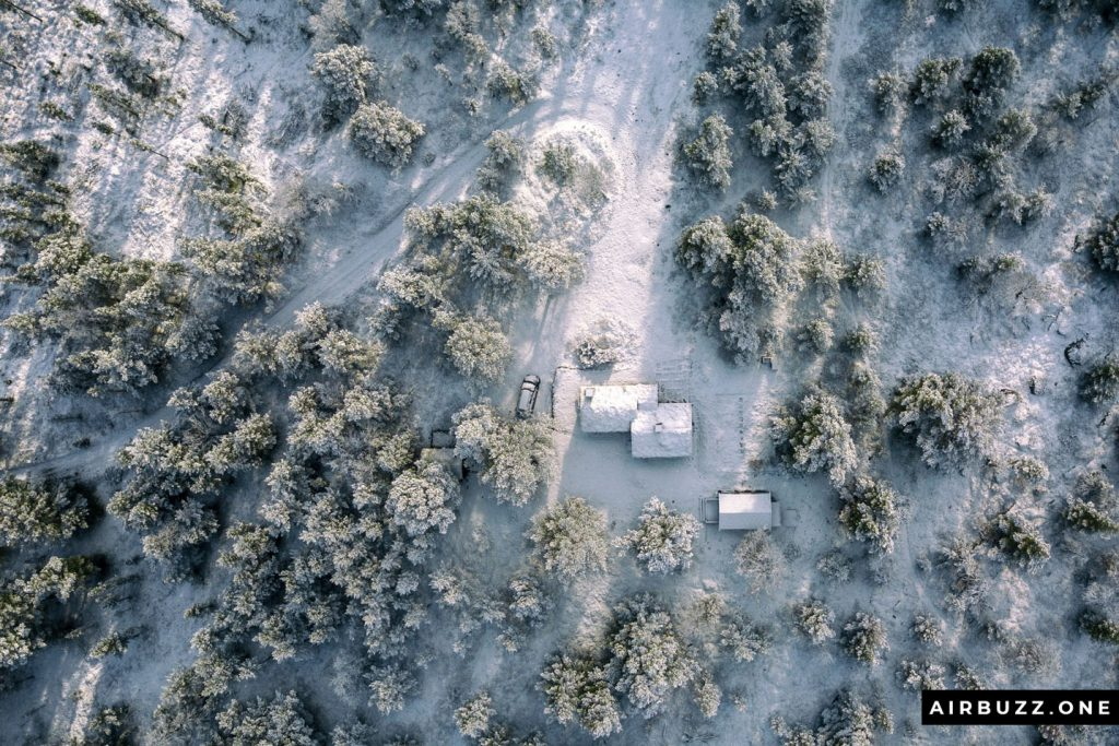 Icing sugar cover over our cabin and the trees around.