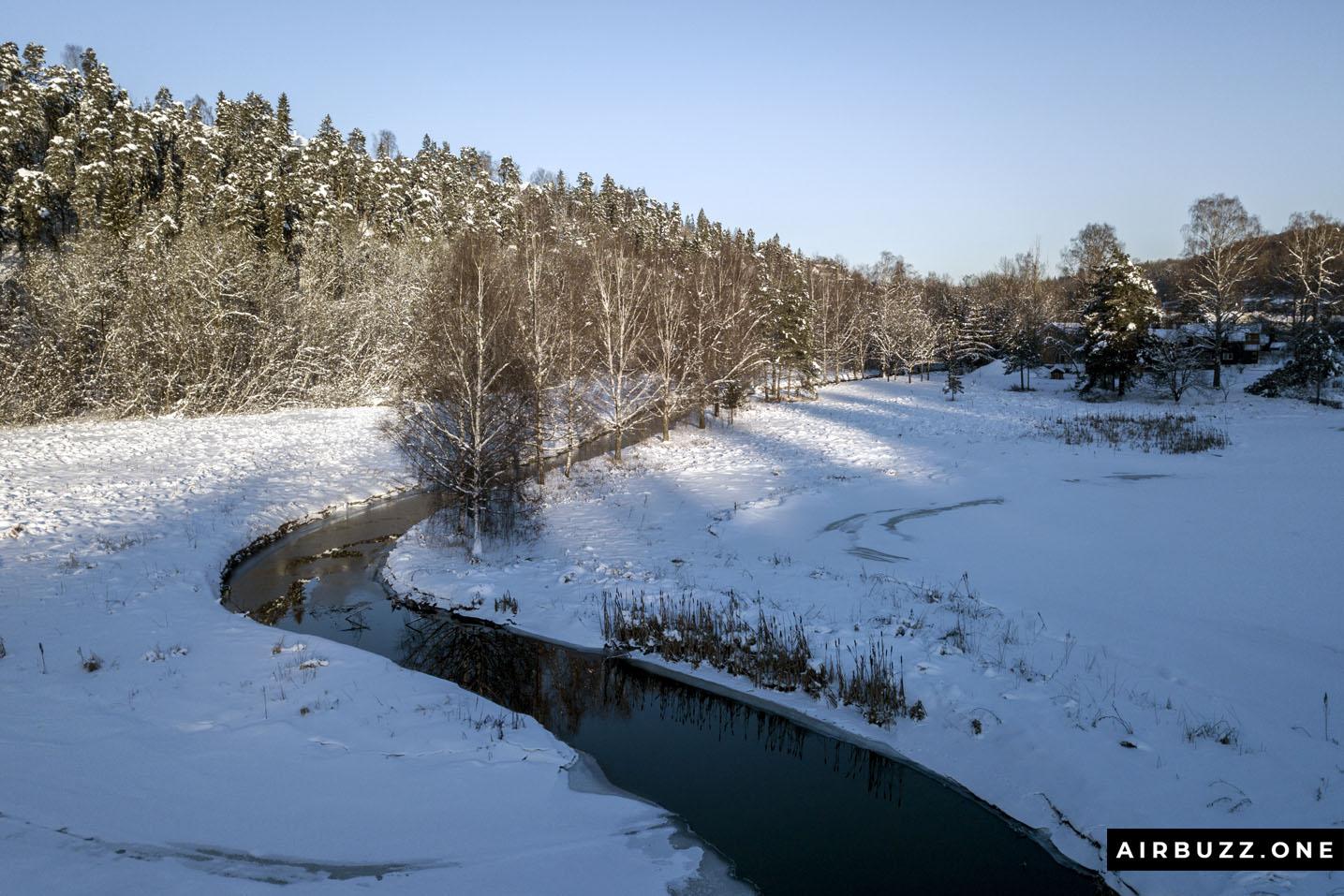 Snow, river, trees...