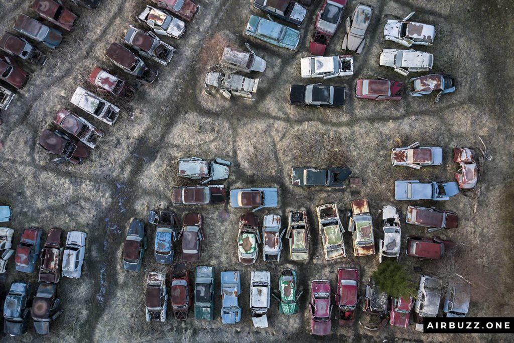 The abandoned cars look like toy cars - Matchbox or Cargo cars.