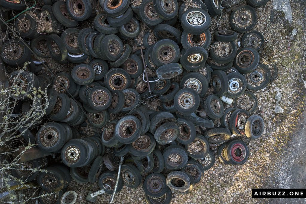 A pile of old tires, drone style.