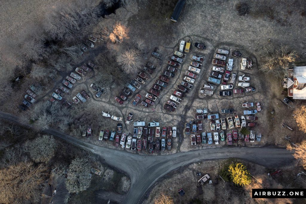 Top view of the open part of the car graveyard.