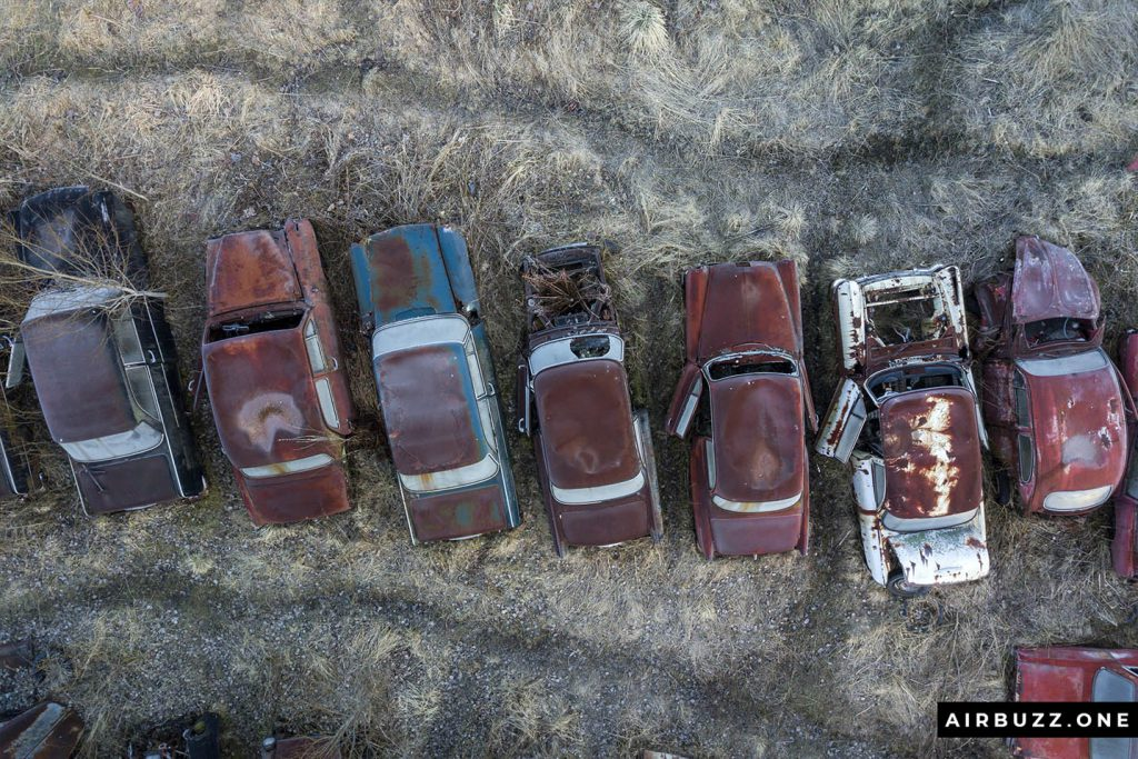 Rusty vehicles soon covered in grass and vegetation.