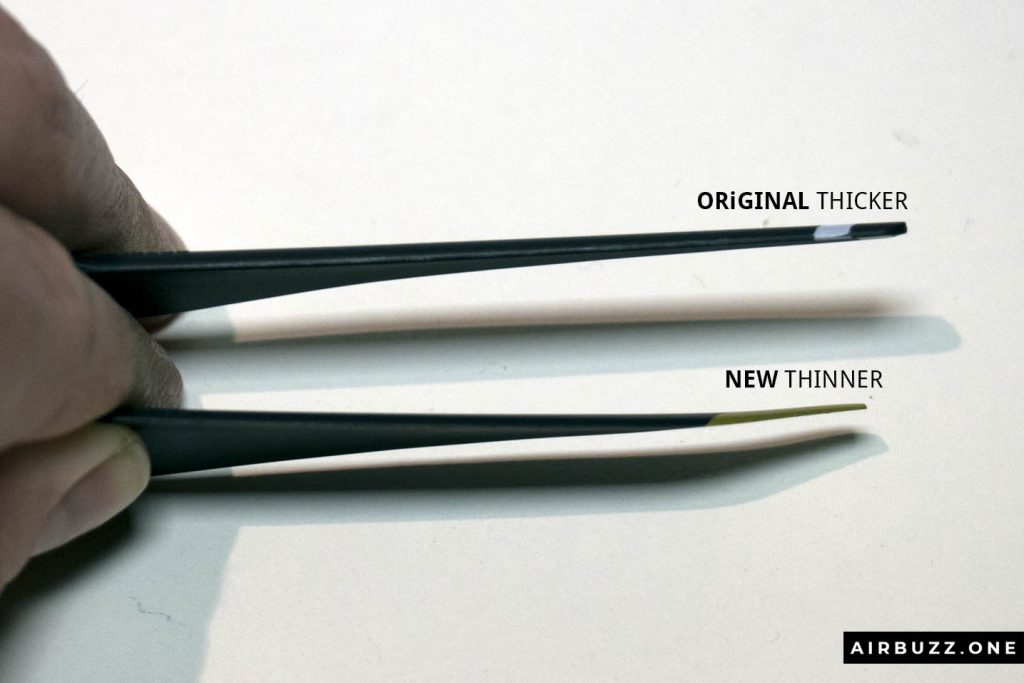 The new blades are both thinner and a little bit wider than the originals.