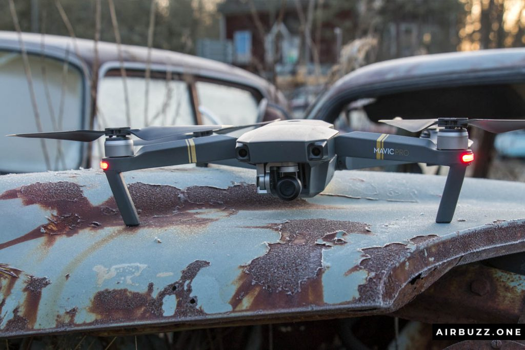 The Mavic posing on a rusty car. (Not launch position of course, because of the metal)