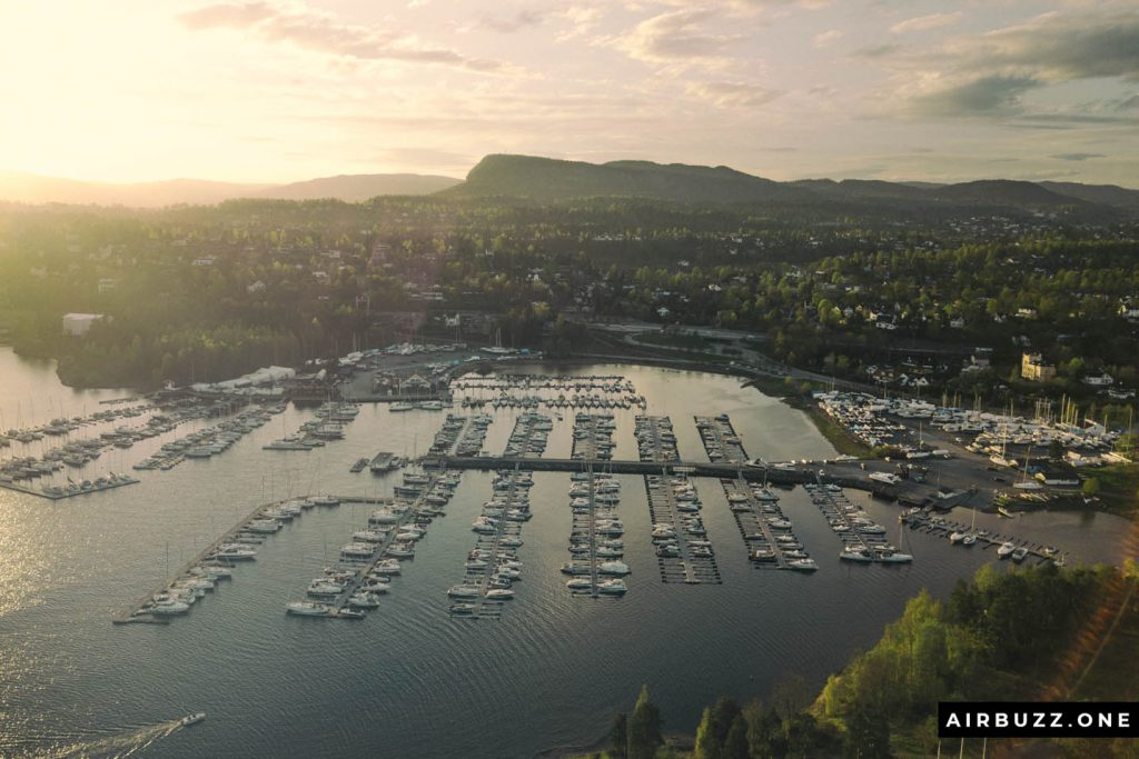 Solvik Marina in sunset.