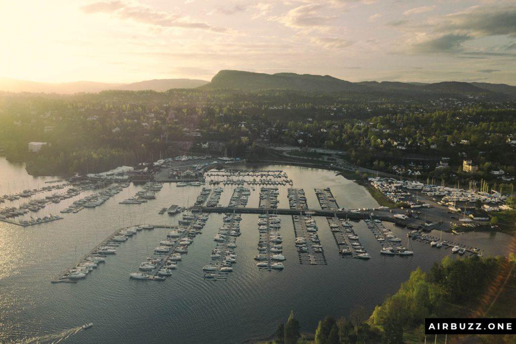 Solvik Marina in sunset.