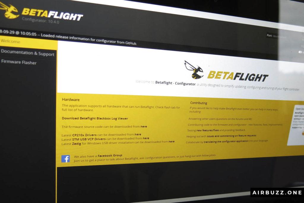 Betaflight Configurator startup screen.