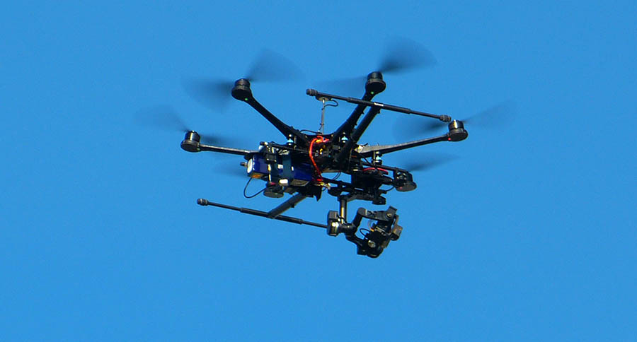 Octocopter with eight propellers.