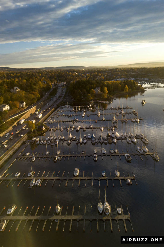 Drone shot of my local marina and E18 highway towards the capital Oslo.