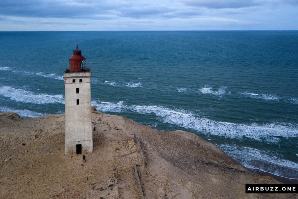 Rubjerg Knude Lighthouse shot with a drone.