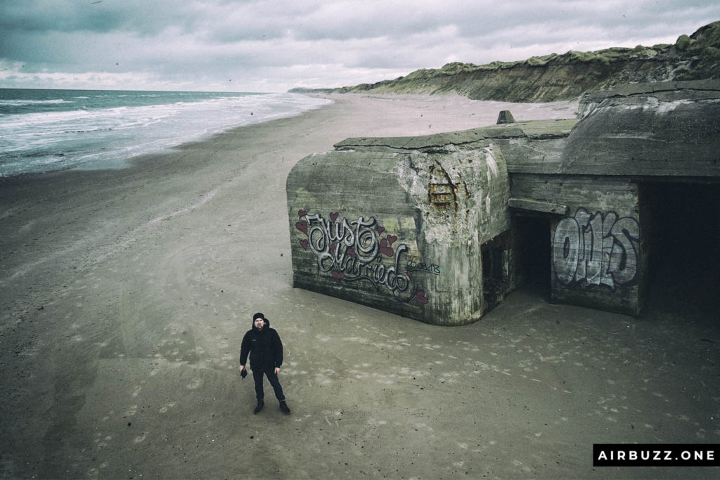 Selfie in front of one of the bunkers you can walk inside on the beach.