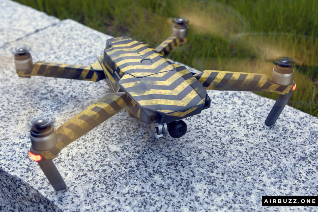DJI Mavic Pro with new skin and yellow props ready for take-off